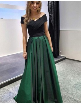 Off the Shoulder Simple Ruched Green Satin Prom Dress PD1670