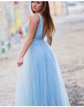 Deep V-neck Light Blue Sparkle Sequin Tulle Prom Dress PD1671