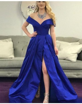 Off the Shoulder Royal Blue Ruched Prom Dress with Side Slit PD1672