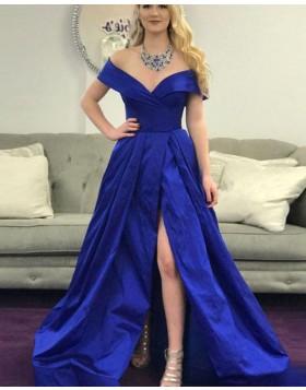 Off the Shoulder Royal Blue Ruched Prom Dress with Side Slit PD1672