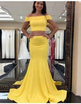 Simple Two Piece Off the Shoulder Yellow Satin Mermaid Prom Dress PD1673