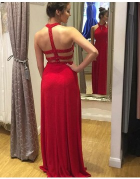 High Neck Beading Red Satin Prom Dress with Side Slit PD1675