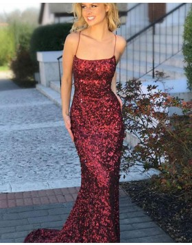 Spaghetti Straps Rose Red Sequin Mermaid Prom Dress PD1676