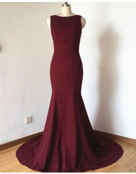 Jewel Burgundy Simple Satin Mermaid Prom Dress with Bowknot PD1678