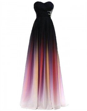 Sweetheart Ombre Chiffon Beading Bridesmaid Dress PD1680