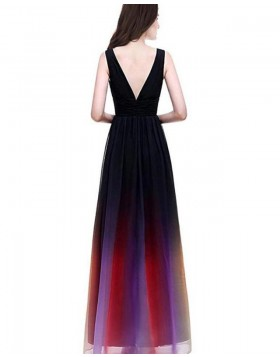 Deep V-neck Ombre Chiffon Long Formal Dress PD1681