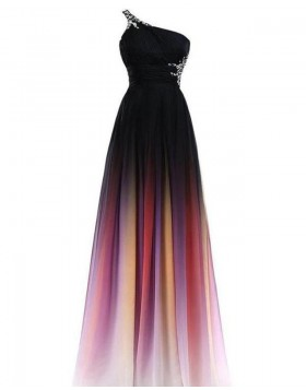 One Shoulder Ombre Beading Pleated Chiffon Bridesmaid Dress PD1682