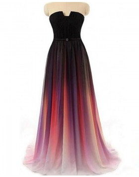 Strapless Cutout Ombre Chiffon Pleated Bridesmaid Dress PD1683