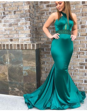 Crisscross Green Satin Mermaid Prom Dress with Beading Belt PD1684