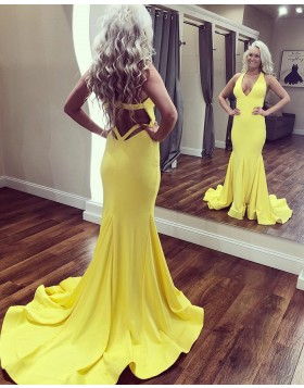 Deep V-neck Simple Satin Cutout Mermaid Prom Dress PD1685