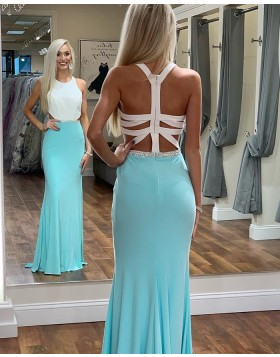 High Neck White and Lake Blue Mermaid Prom Dress with Beading PD1686