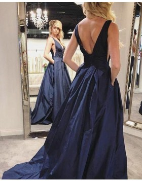 Simple Pleated Deep V-neck Navy Blue Satin Prom Dress with Pockets PD1694