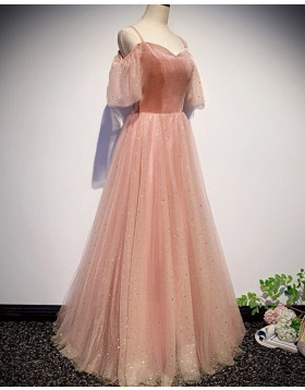 Cold Shoulder Peach Pink Sparkle Tulle Pleated Prom Dress PD1695