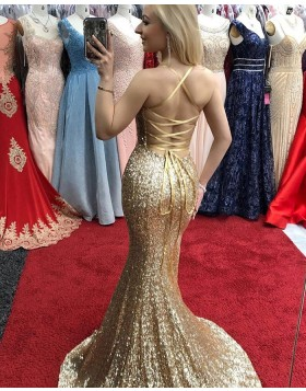 Spaghetti Straps Gold Sequin Mermaid Prom Dress with Side Slit PD1696