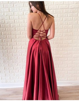 V-neck Red Satin Simple Long Prom Dress with Side Slit PD1697