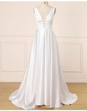 Deep V-neck White Satin Simple Pleated Prom Dress PD1699