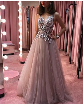 Dusty Rose V-neck Beading Appliqued Pleated Long Prom Dress PD1701