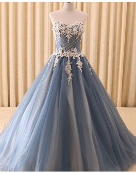 Sweetheart Lace Appliqued Dusty Blue Ball Gown Evening Dress PD1702