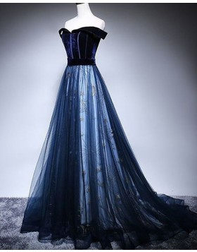 Off the Shoulder Navy Blue Sparkle A-line Prom Dress PD1703
