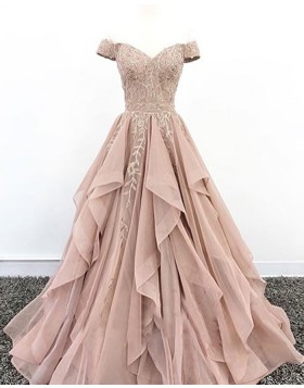 Off the Shoulder Nude Pleated Beading Appliqued Ruffled Evening Dress PD1704