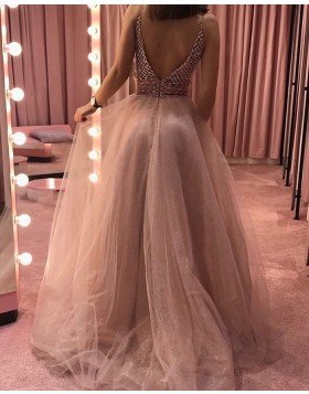 V-neck Beading Bodice Nude Sequin Tulle Prom Dress PD1705