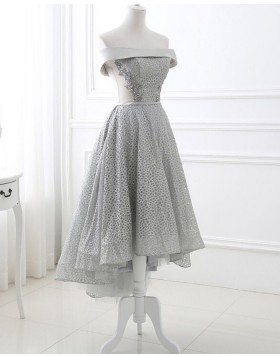 Off the Shoulder Silver Sequin Lace High Low Formal Dress PD1707