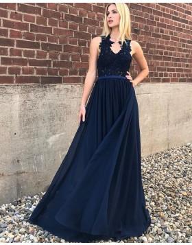 V-neck Navy Blue Lace Appliqued Bodice A-line Prom Dress PD1708