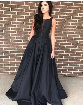 Black Jewel Simple Satin Prom Dress PD1710