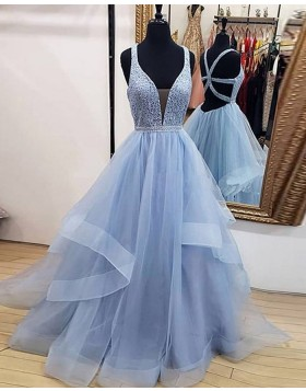 V-neck Beading Bodice Sky Blue Ruffled Tulle Prom Dress PD1711