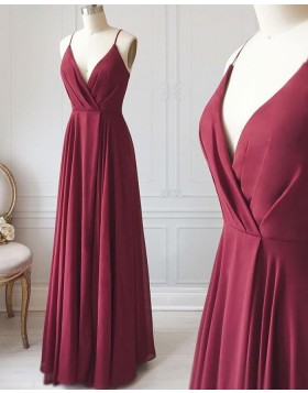 V-neck Burgundy Ruched Satin Simple Long Formal Dress PD1712