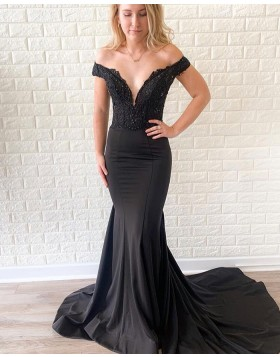 Off the Shoulder Beading Bodice Mermaid Black Satin Prom Dress PD1713