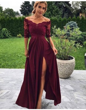 Off the Shoulder Burgundy Lace Bodice Side Slit Prom Dress with Half Length Sleeves PD1715
