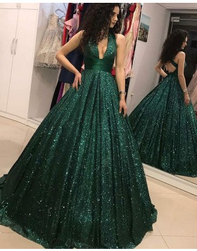 Deep V-neck Sequin Pleated Green Evening Gown PD1717