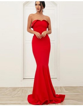 Strapless Simple Red Mermaid Satin Prom Dress PD1720