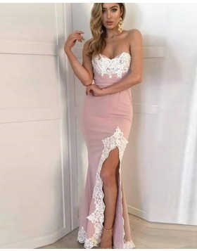 Sweetheart Dusty Pink Appliqued Mermaid Prom Dress with Side Slit PD1721