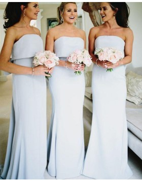 Strapless Dusty Blue Mermaid Simple Bridesmaid Dresses with Bowknot PD1722