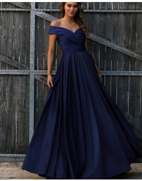 Off the Shoulder Navy Blue Ruched Simple Long Prom Dress PD1726