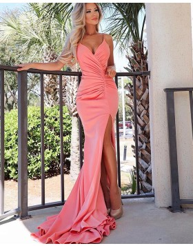 Spaghetti Straps Ruched Mermaid Satin Prom Dress with Side Slit PD1727