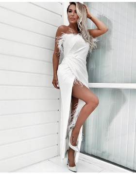 Strapless White Ruched Asymmetric Formal Dress with Feathers PD1728