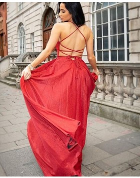 Deep V-neck Red Satin Simple Long Prom Dress PD1729