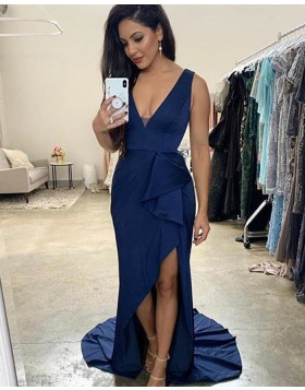 V-neck Blue Asymmetric Mermaid Prom Dress PD1731