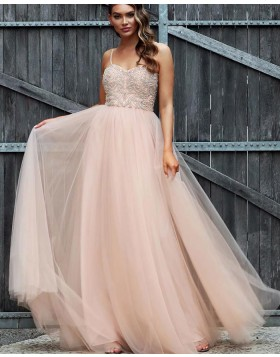 Spaghetti Straps Dusty Pink Tulle Beading Bodice Prom Dress PD1732