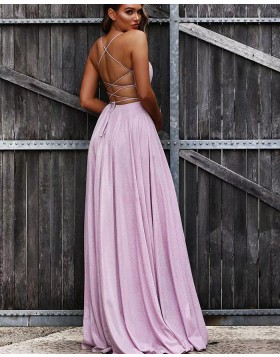 V-neck Ruched Lavender Pleated A-line Prom Dress PD1733