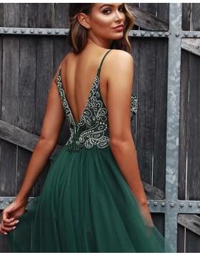 V-neck Beading Bodice Green Tulle Prom Dress with Side Slit PD1734