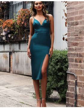 V-neck Satin Knee Length Mermaid Prom Dress with Side Slit PD1736
