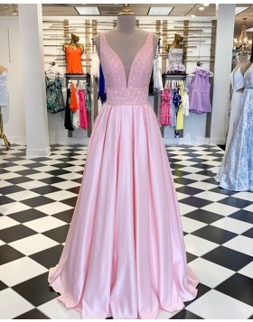 V-neck Beading Bodice Pearl Pink Pleated Prom Dress PD1738