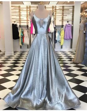 V-neck Cutout Sparkle Long Prom Dress PD1739