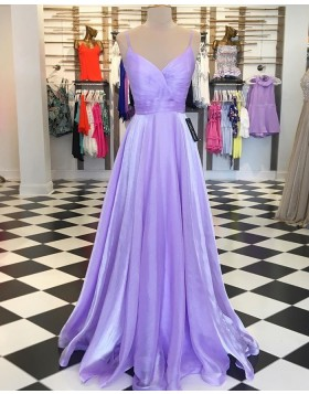 Spaghetti Straps Lavender Tulle Ruched Simple Prom Dress PD1740