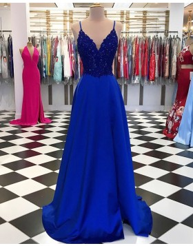 V-neck Beading Bodice Royal Blue Satin Prom Dress with Side Slit PD1743