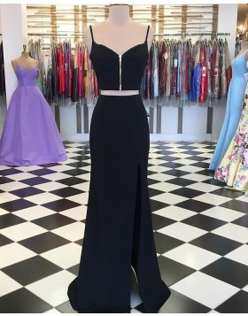 Two Piece Black Mermaid Prom Dress with Side Slit PD1744